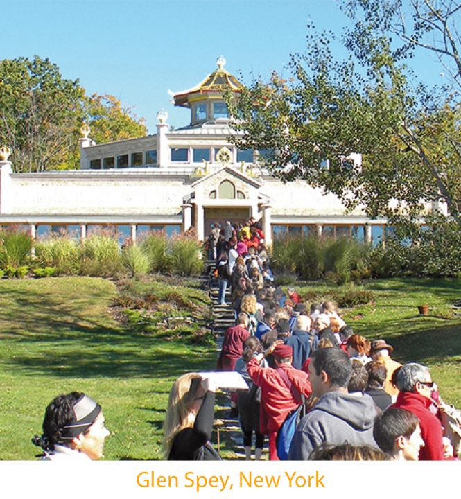 People entering the Kadampa Temple in New York state