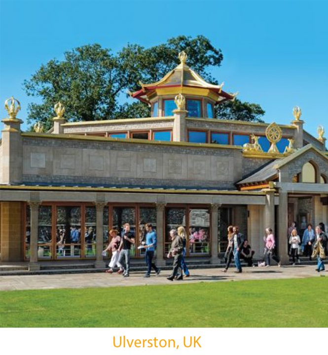 People leaving the Temple at Manjushri Kadampa Meditation Centre in England